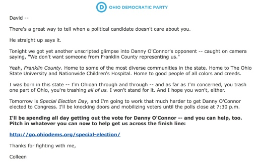 Ohio Dems email